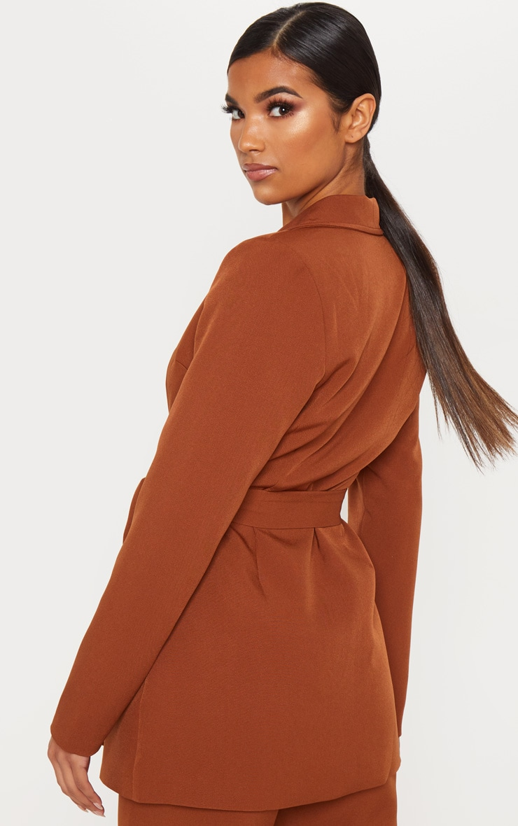 Chocolate Brown Belted Longline Blazer  2