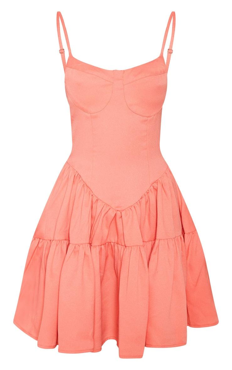 Peach Cup Detail Frill Hem Shift Dress 3