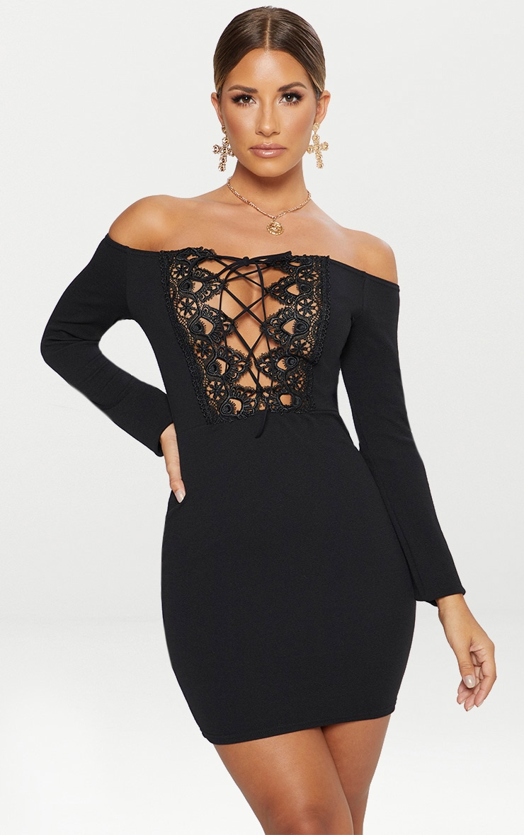 6188883ebddc Black Lace Up Bardot Bodycon Dress image 1