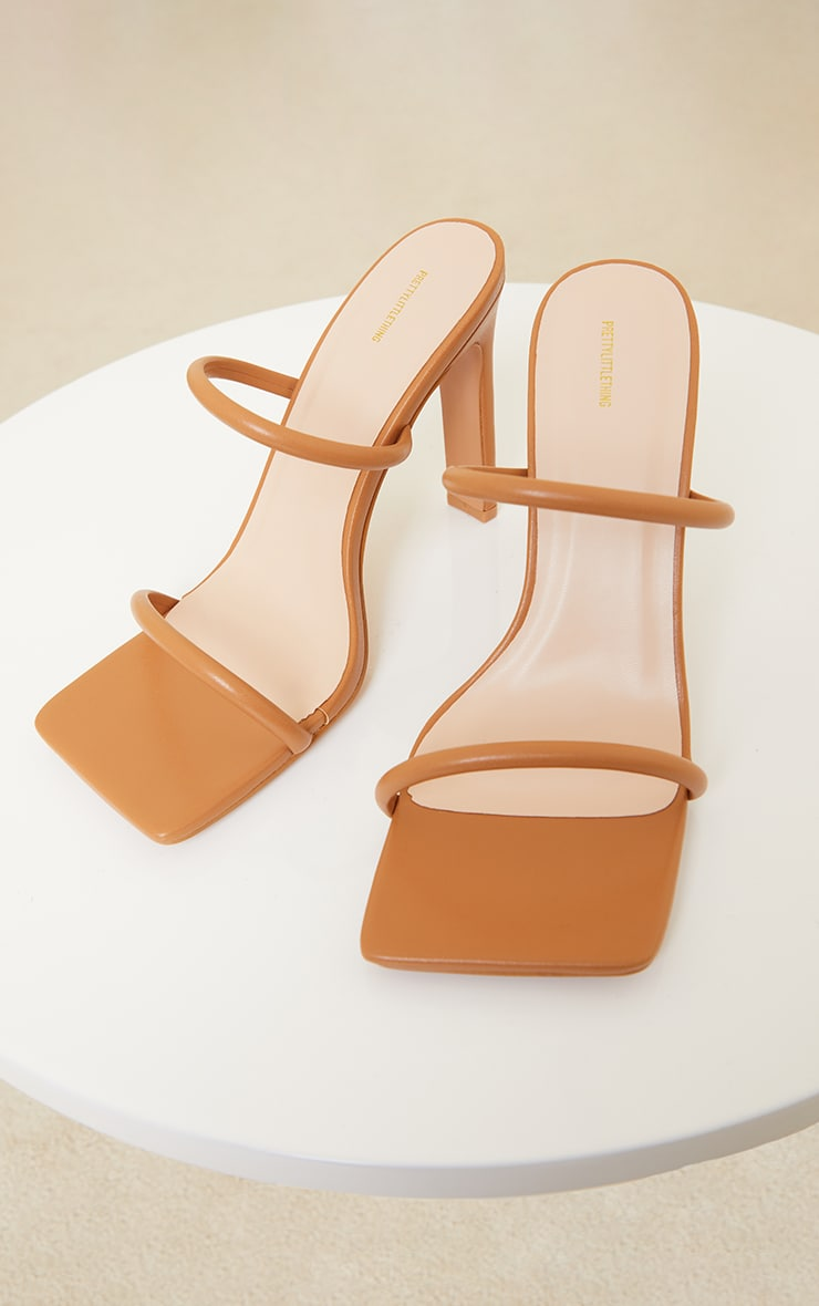 Tan Wide Fit Extreme Square Toe Twin Strap Mule High Heels 3