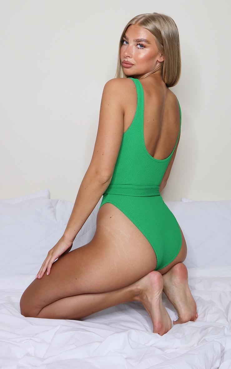 Green Tie Waist Crinkle Swimsuit 2