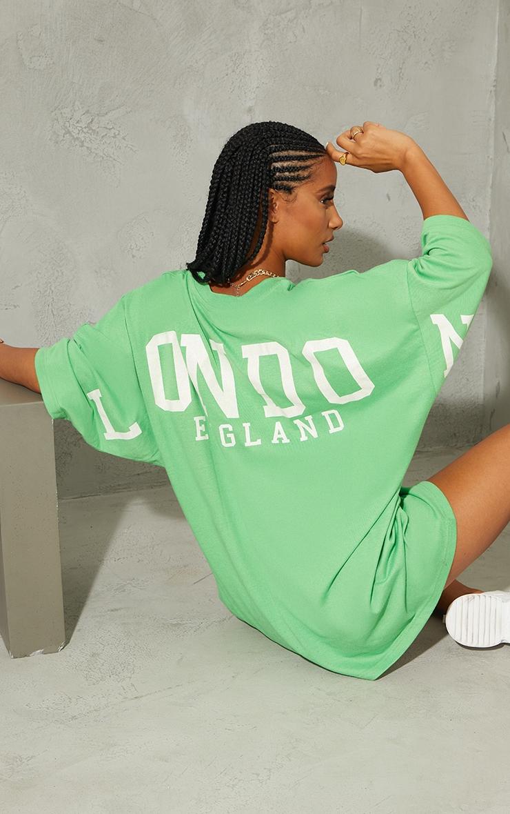 Green London England Graphic Short Sleeve T Shirt Dress 1