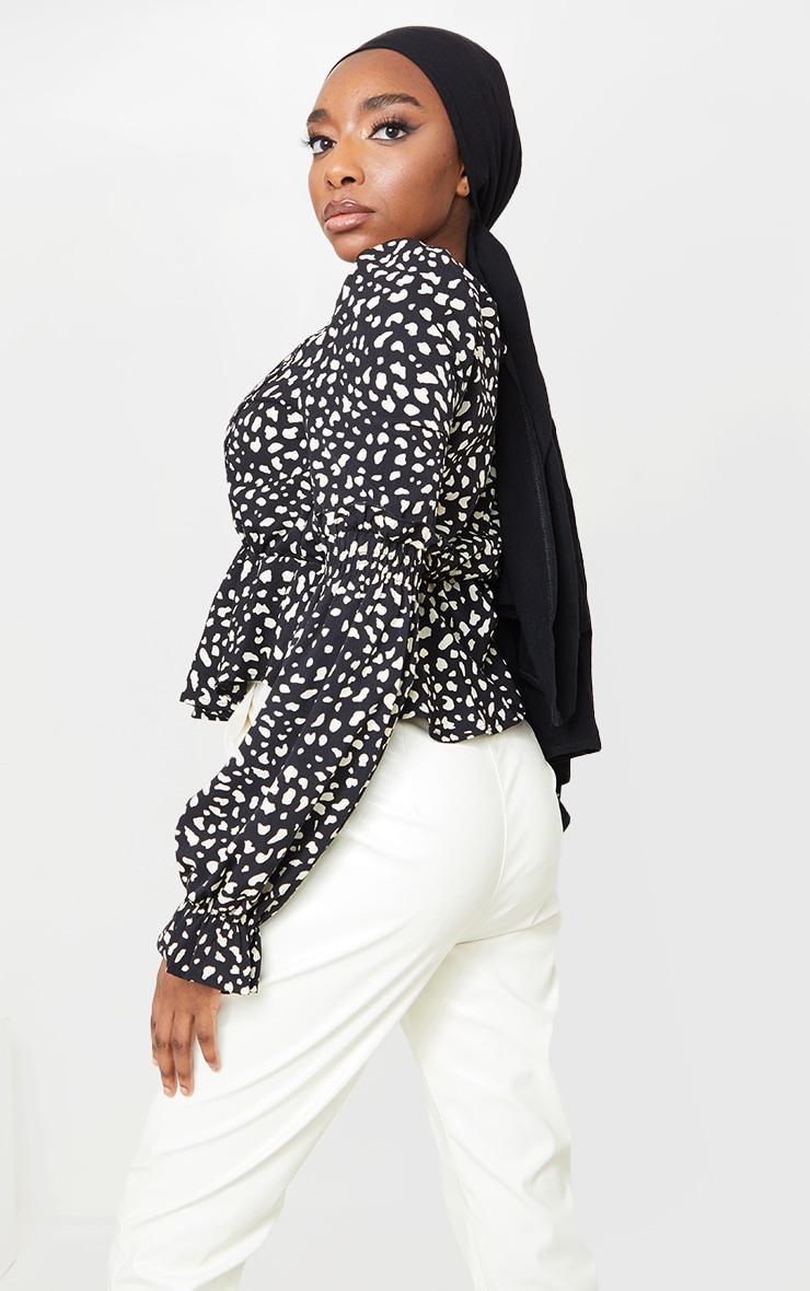 Black Leopard Binding Puff Sleeve Peplum Top 2