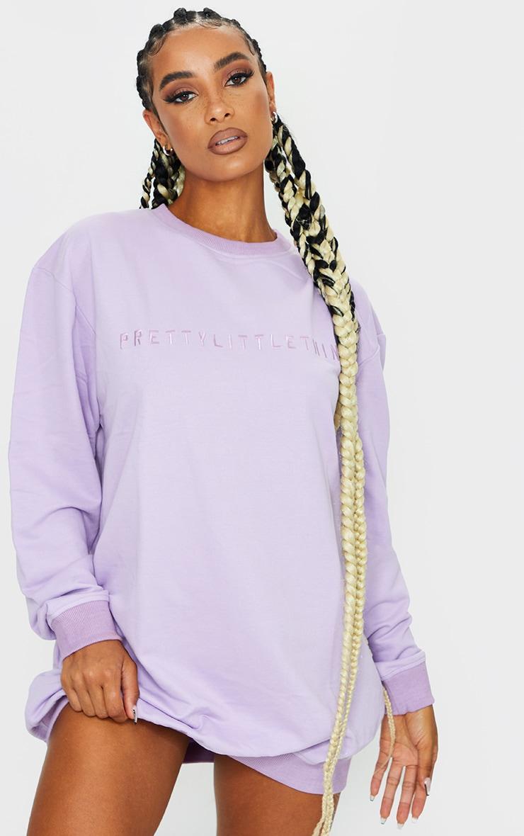 PRETTYLITTLETHING Lilac Slogan Sweat Jumper Dress 1