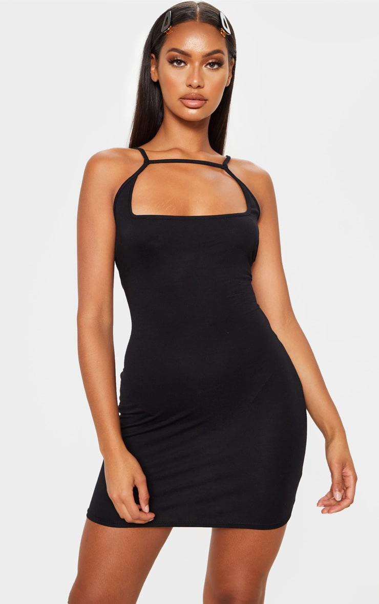 Black Strappy Front Detail Bodycon Dress 4