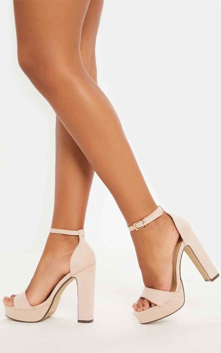 Taya Nude Faux Suede Platform Sandals