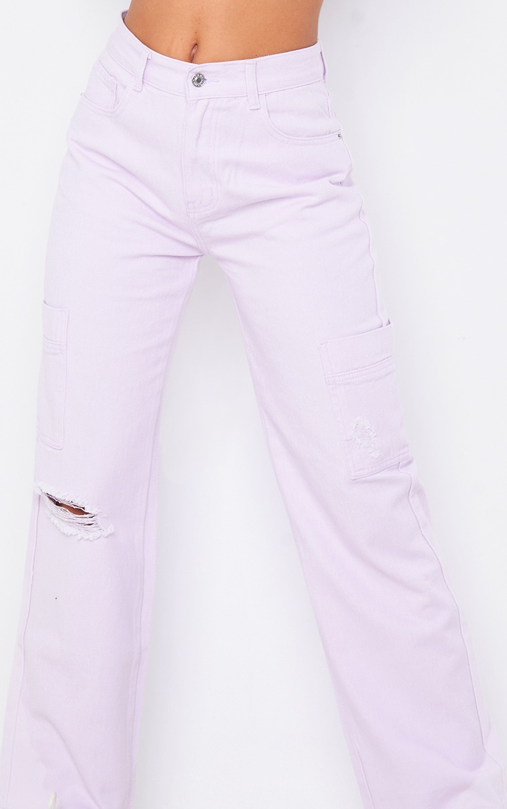 Lilac Wide Leg Ripped Cargo Jeans 4