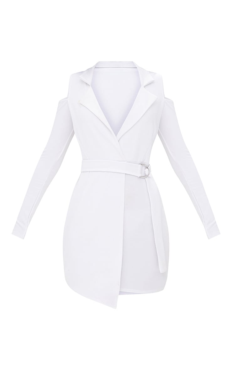 White Cold Shoulder Blazer Dress 3