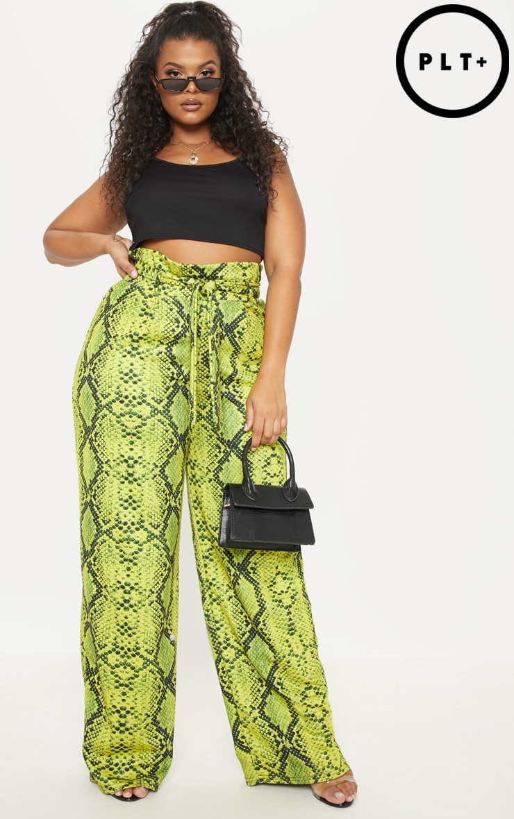 PLUS NEON YELLOW SNAKE PRINT PAPERBAG TIE WAIST WIDE LEG TROUSER