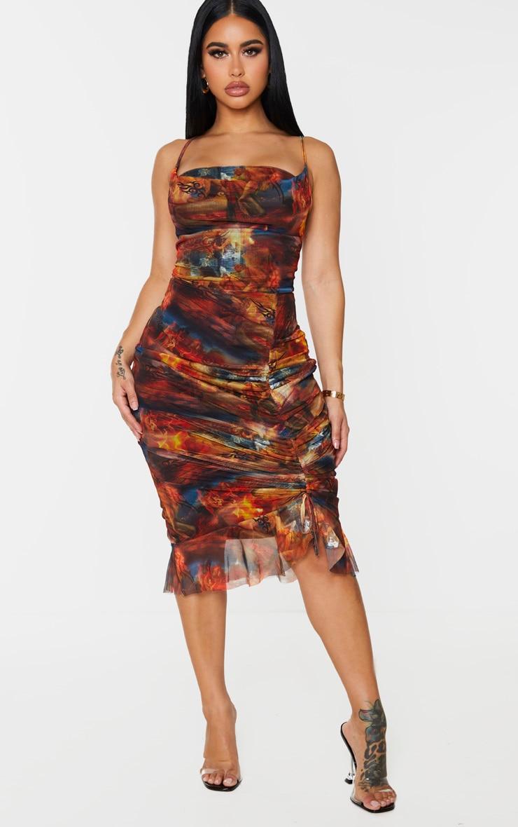 Shape Red Renaissance Print Mesh Cowl Ruched Midi Dress 1