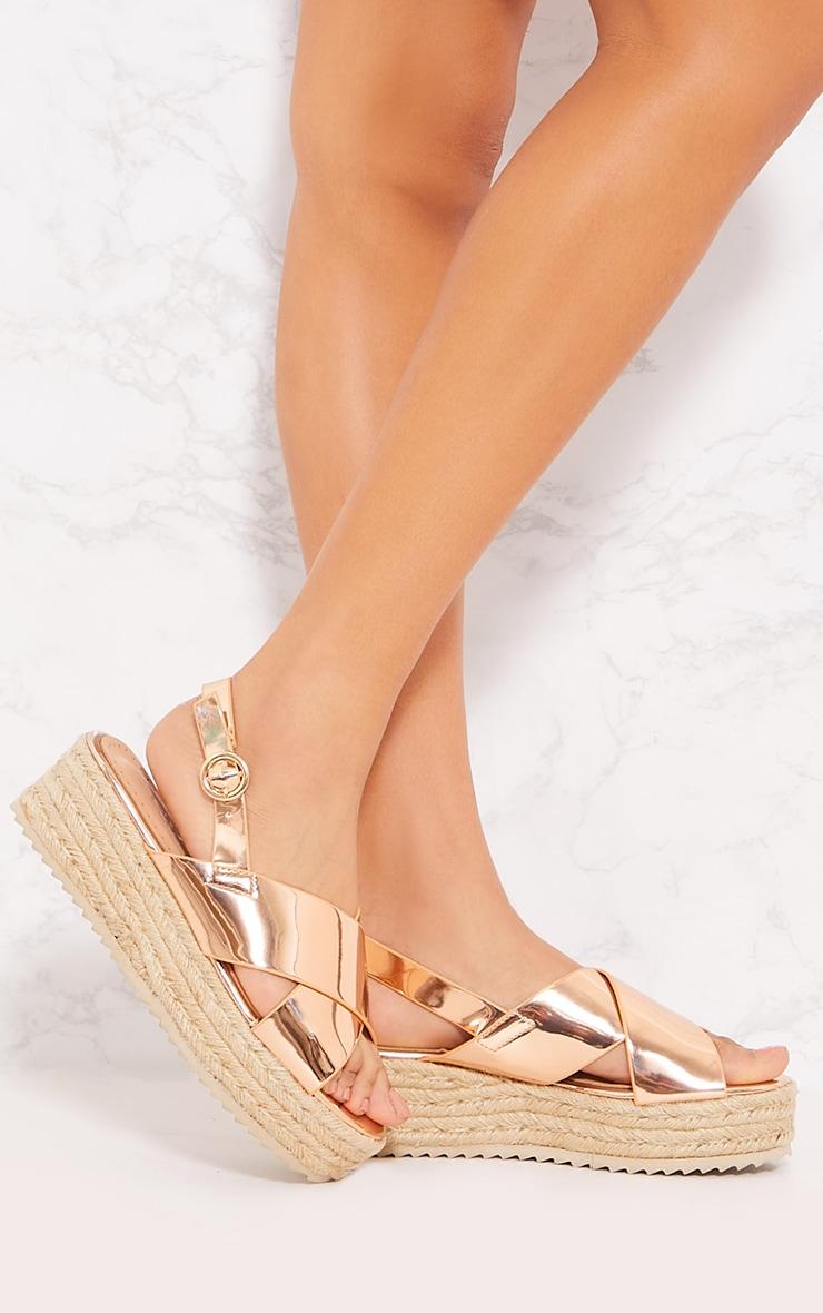 12ab903b3 Rose Gold Cross Strap Espadrille Flatform Espadrille Sandal