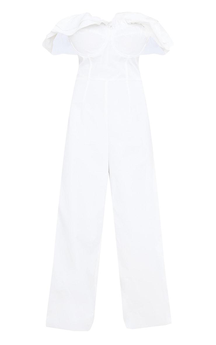 White Cup Detail Frill Edge Bardot Jumpsuit 5