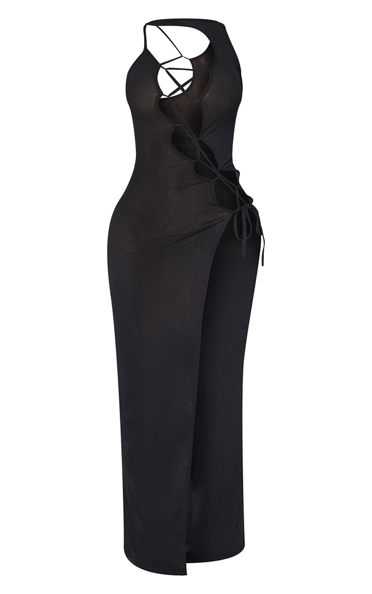 Shape Black Sheer Knit Lace Up Maxi Dress 5