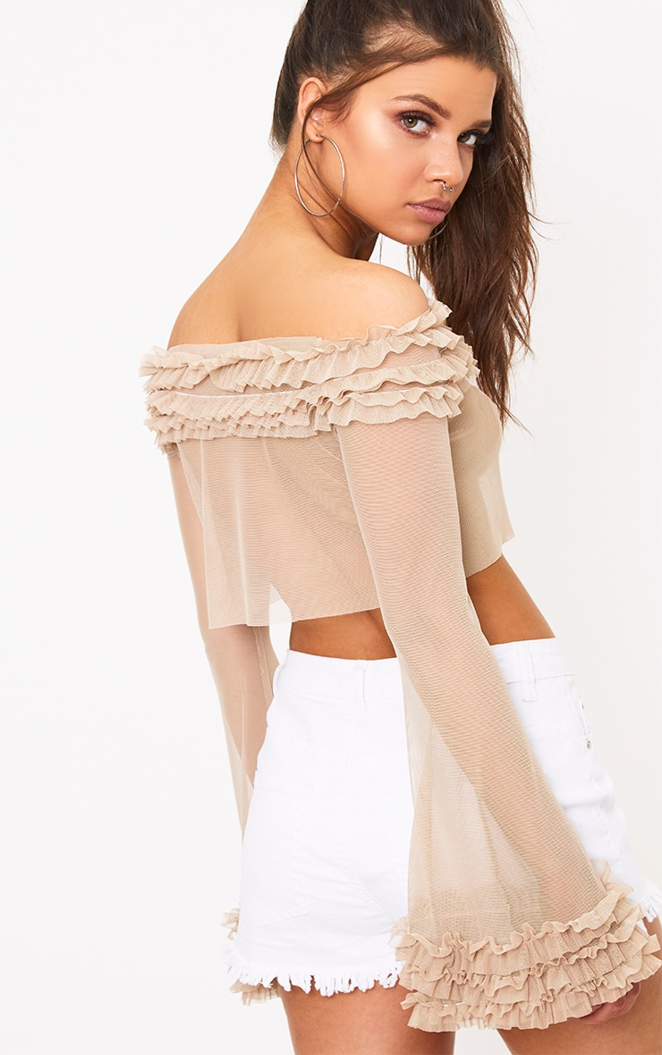 Nude Mesh Bardot Tulle Ruched Crop Top  2