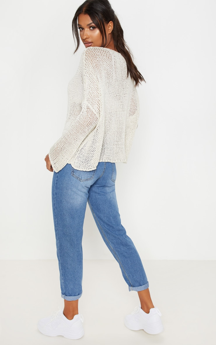 Stone Loose Knit Oversized Jumper 2