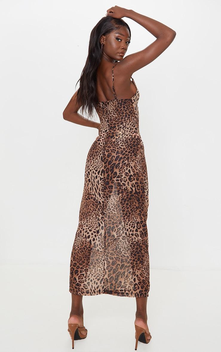 Tall - Robe longue en mesh imprimé léopard marron à col bénitier et bretelles 2