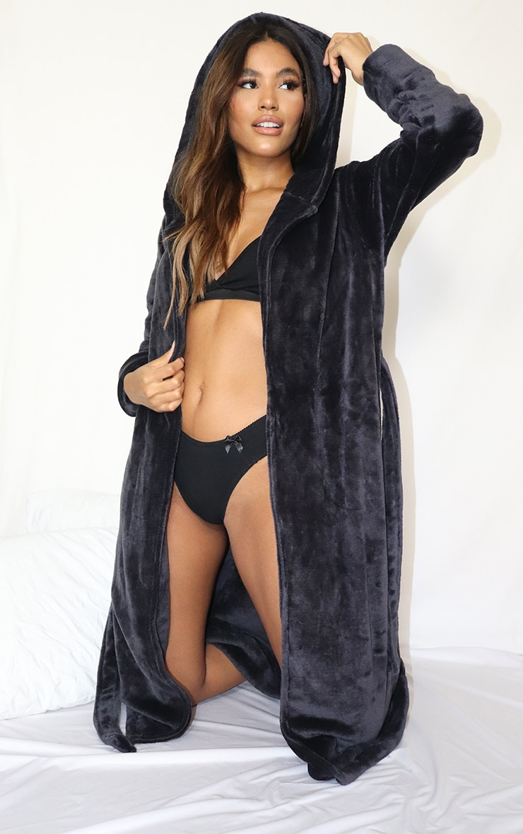 Charcoal Flannel Fleece Hooded Dressing Gown 3