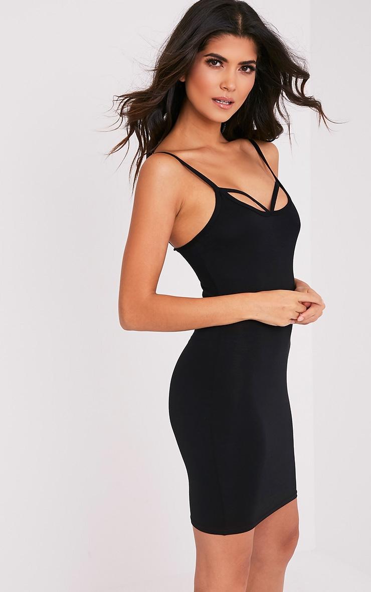 Chassa Black Strap Front Detail Bodycon Dress 4
