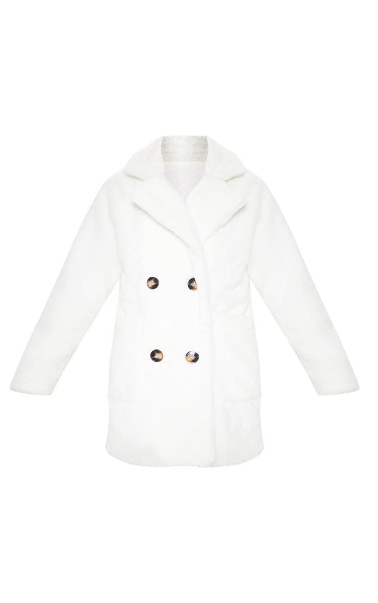 Cream Faux Fur Double Breasted Coat 3