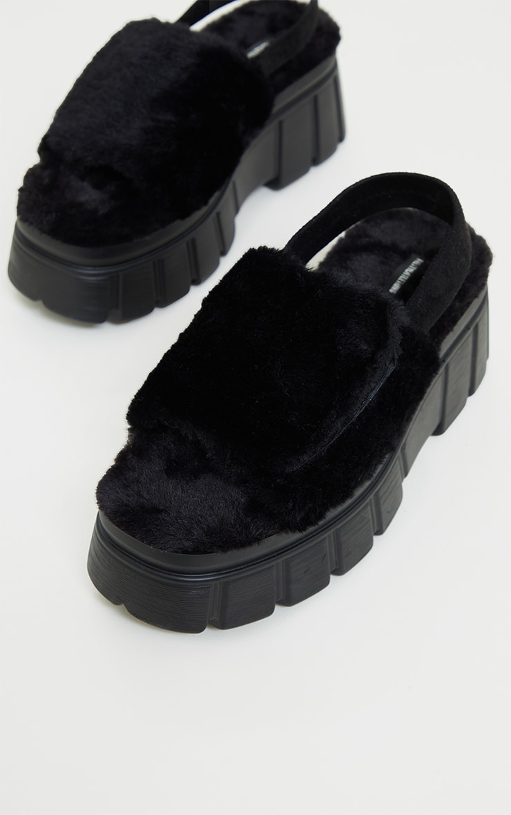 Black Extreme Chunky Sole Faux Fur Sandals 3