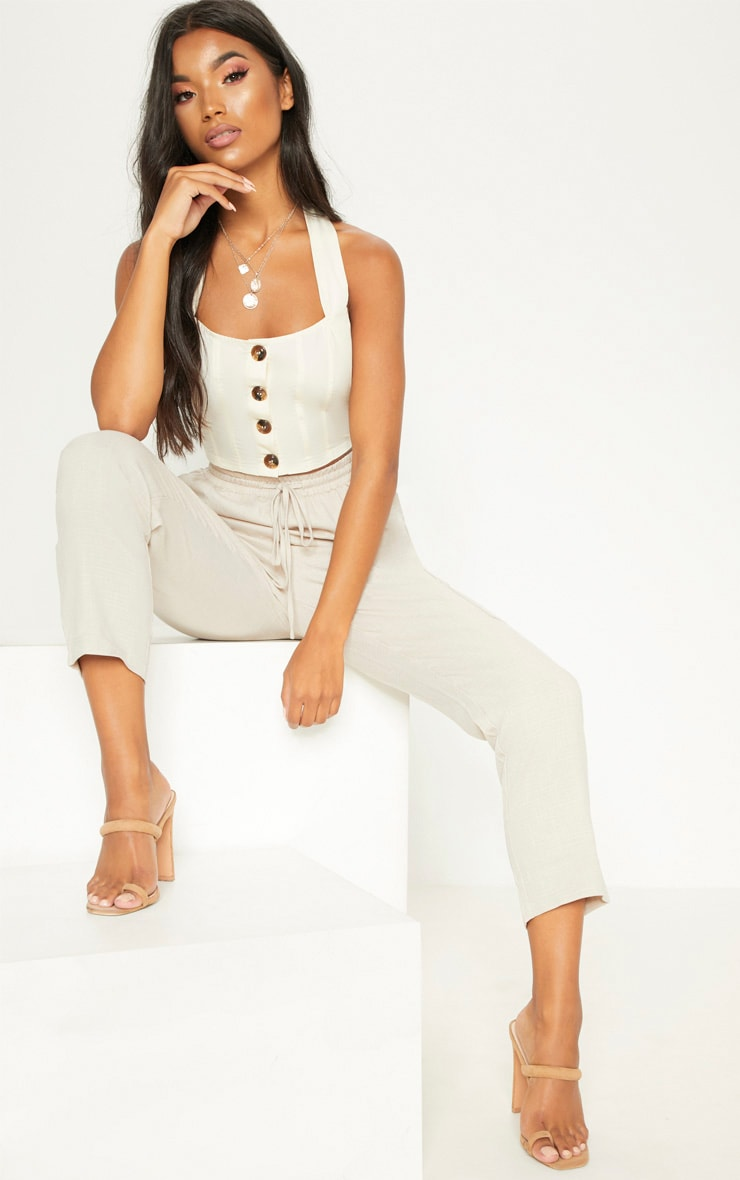 Sand Halterneck Button Down Crop Top