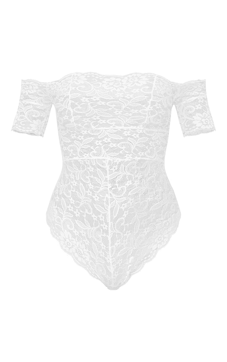 White Bardot All Over Lace Body 3