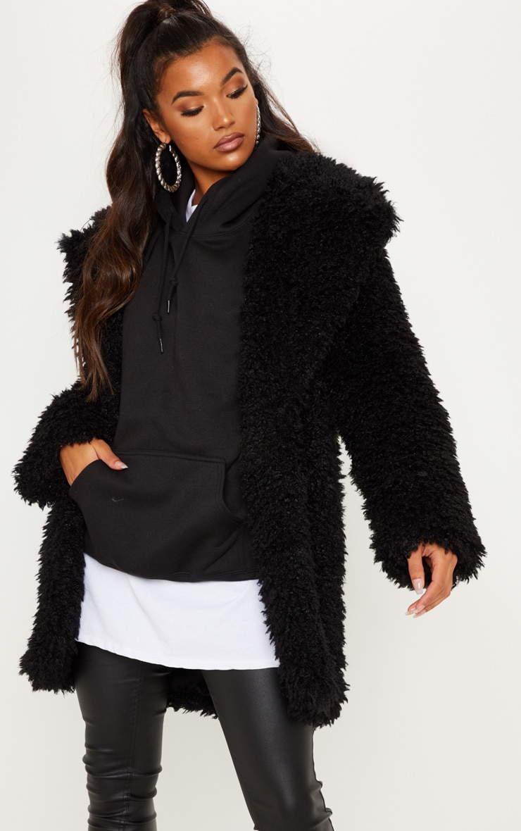 Black Teddy Faux Fur Coat 4
