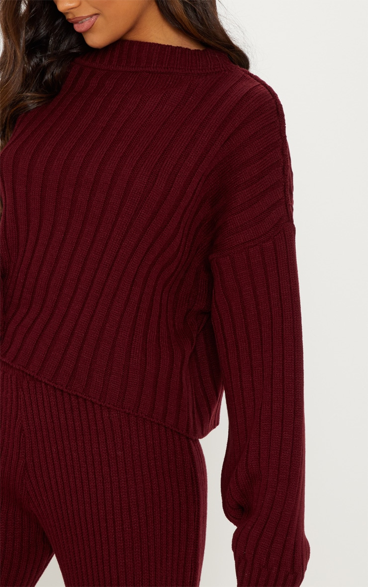 Burgundy Ribbed Knitted Oversized Sweater  5