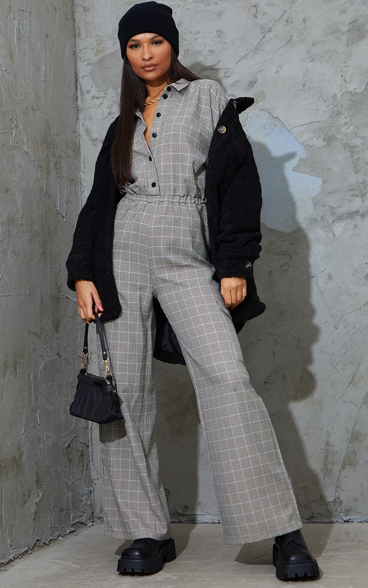 Beige Check Pocket Wide Leg Shirt Jumpsuit 1