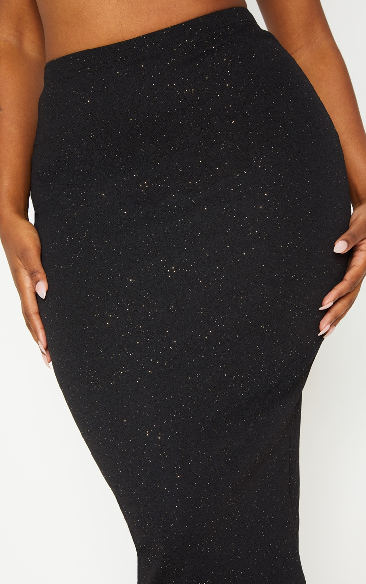 Shape Black Crepe Glitter Midi Skirt 4