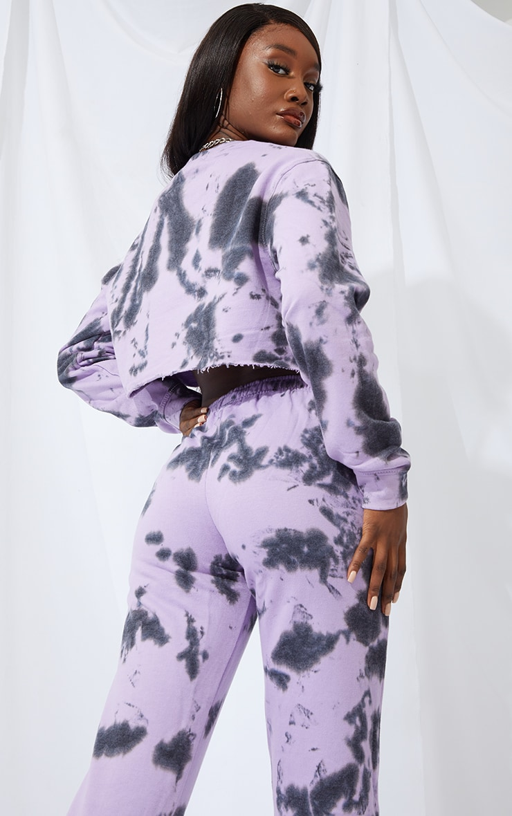 Tall Lilac Acid Wash Cropped Sweater 2