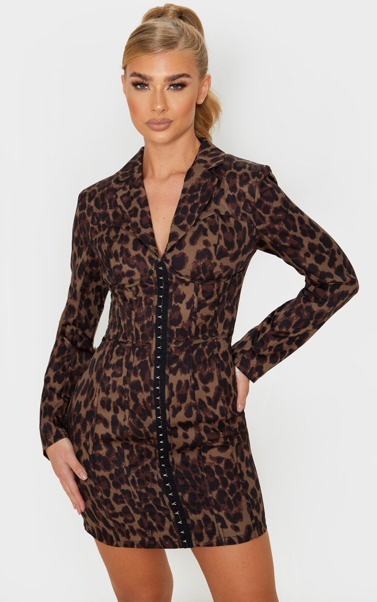Khaki Leopard Print Long Sleeve Corset Style Blazer Dress, Green