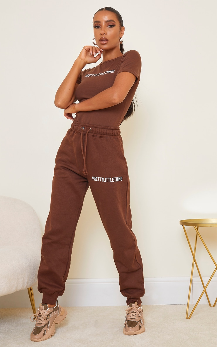 PRETTYLITTLETHING Chocolate Brown High Waisted Joggers 1