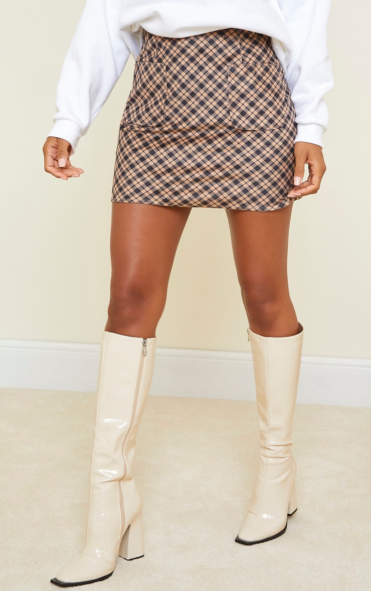 Brown Checked Soft Touch Pocket Detail Mini Skirt 2