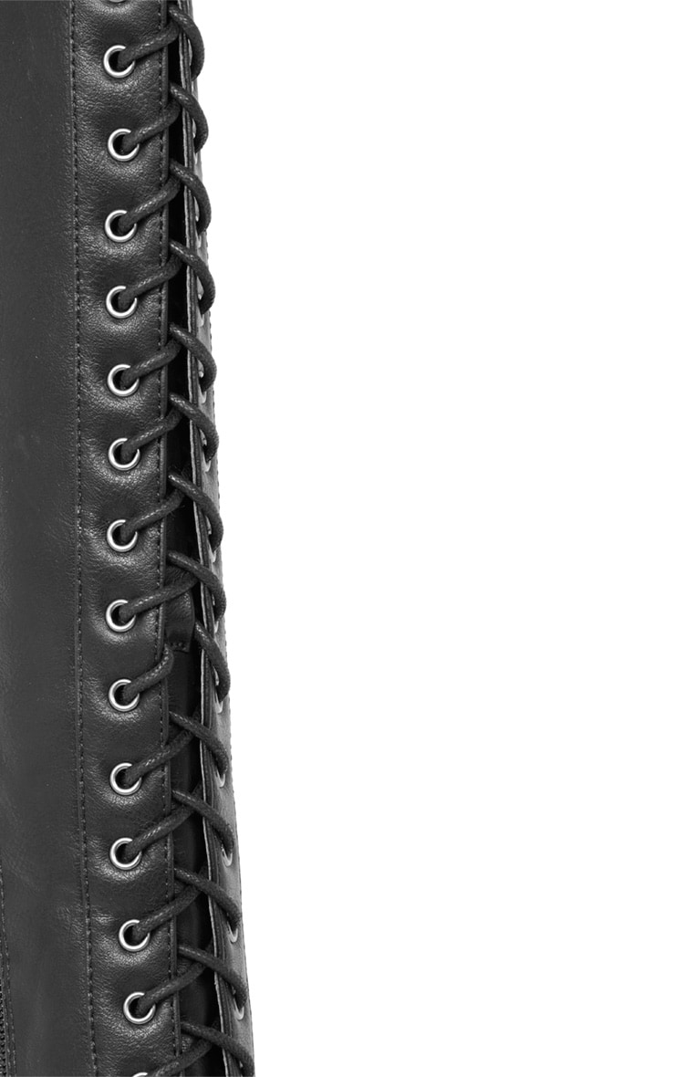 Glenys Black Lace Up Cleated Platform Boot  4