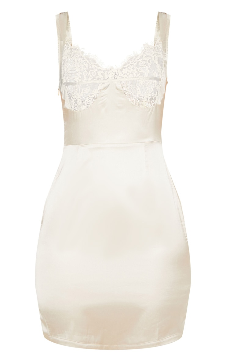 Nude Satin Lace Cup Sleeveless Bodycon Dress 3