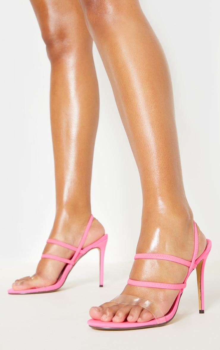 Neon Pink Slingback Strappy Sandal 1