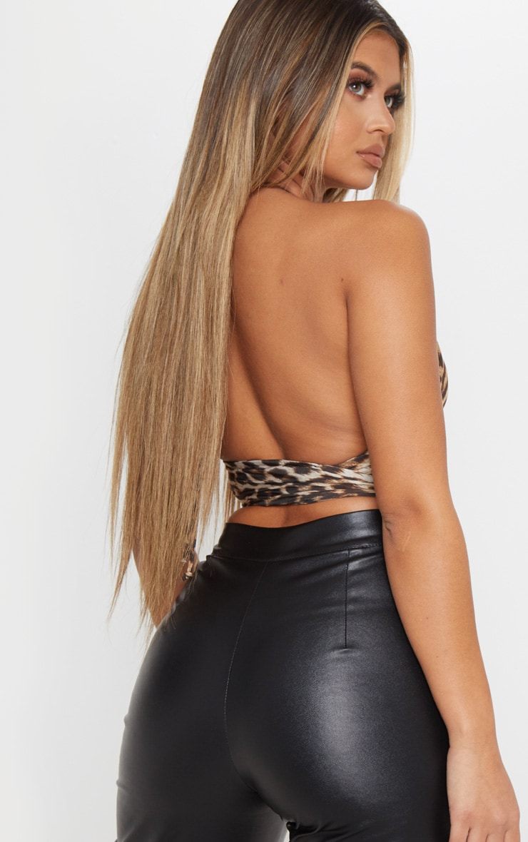Tan Leopard Plunge Ring Detail Bralet 2
