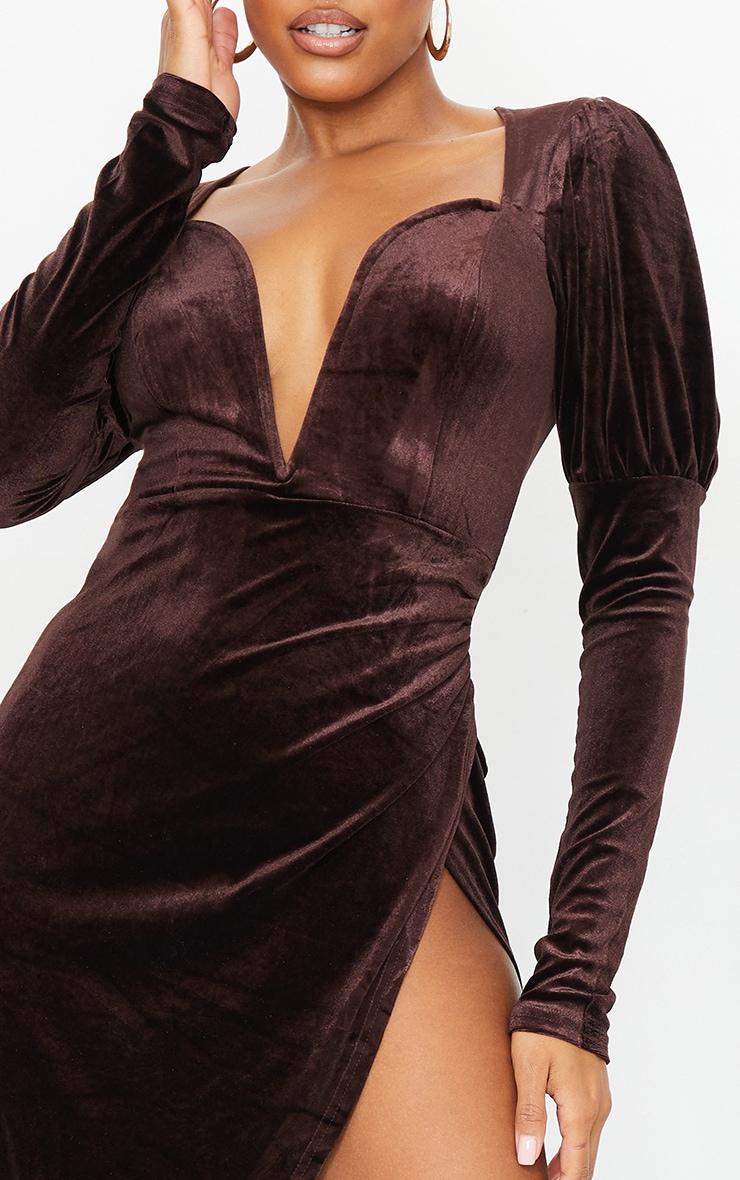 Chocolate Velvet V Bar Puff Sleeve Midi Dress 4