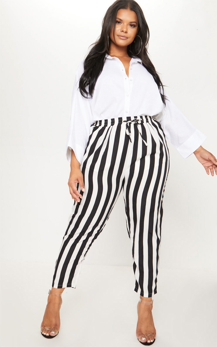 Plus Black Striped Casual Pants  1