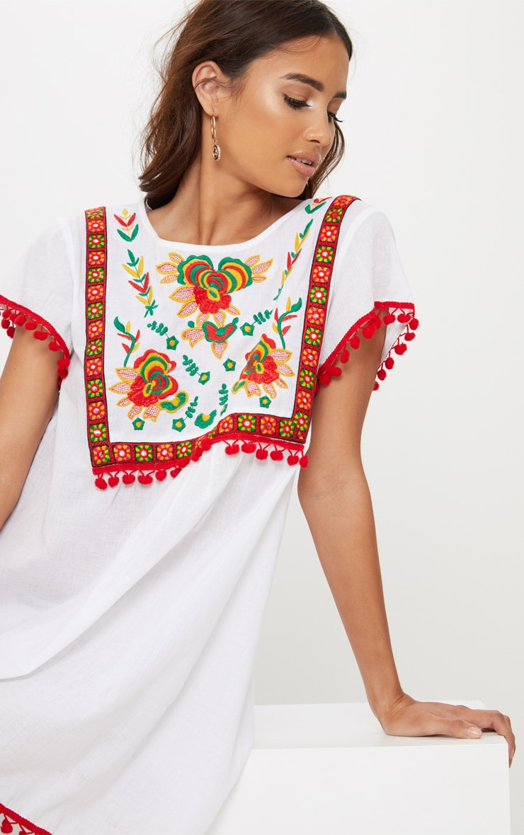 White Embroidered Pom Pom Trim Smock Dress 5