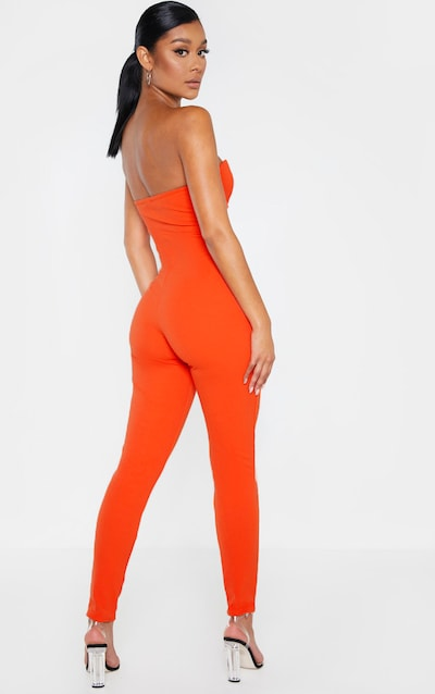 Orange Cup Detail Bandeau Jumpsuit