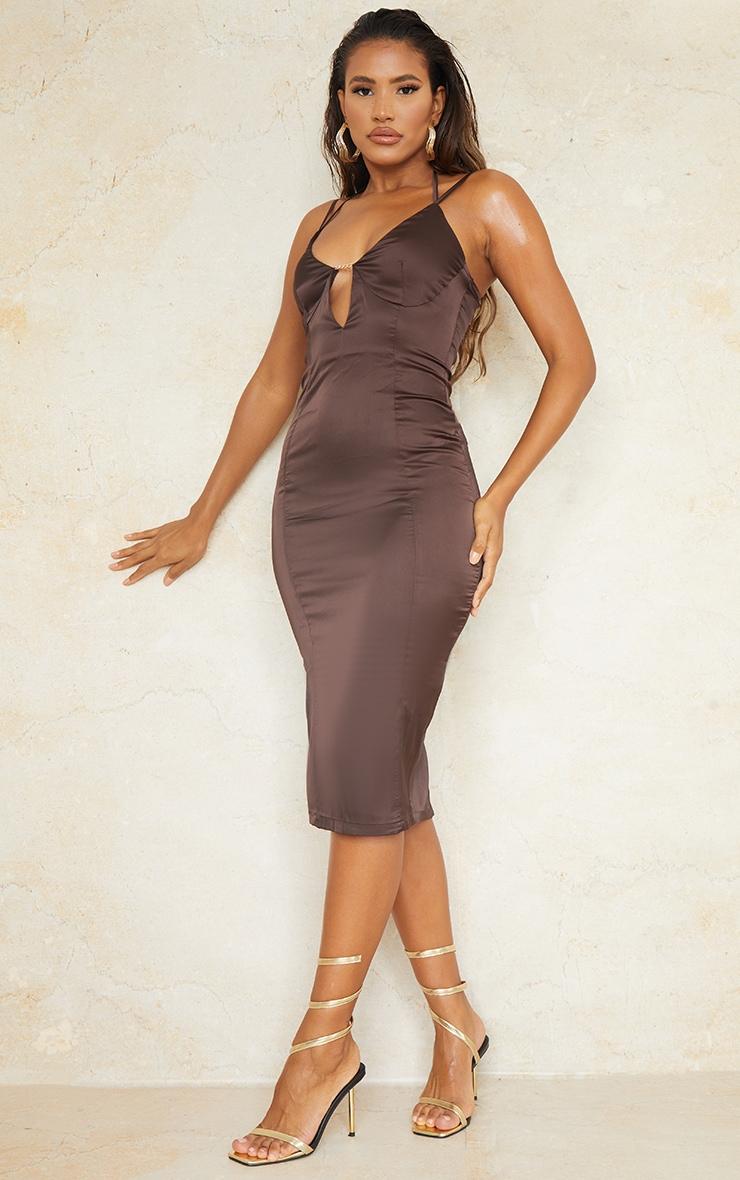Chocolate Satin Strappy Halterneck Detail Split Hem Midi Dress 1