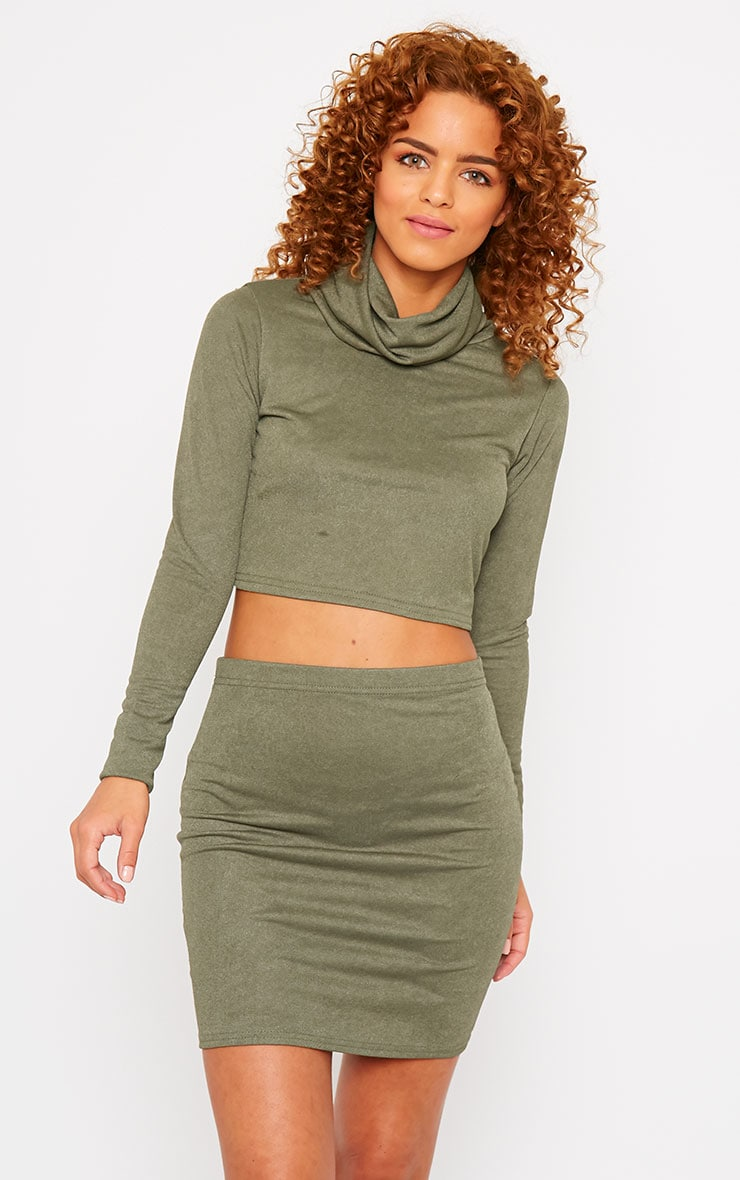 Emilia Khaki Crepe Mini Skirt 5
