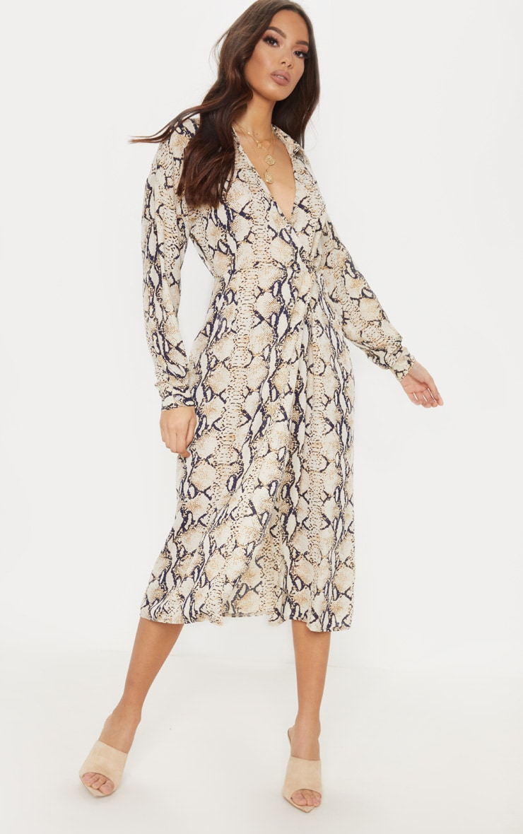 Taupe Snake Print Wrap Midi Dress 1