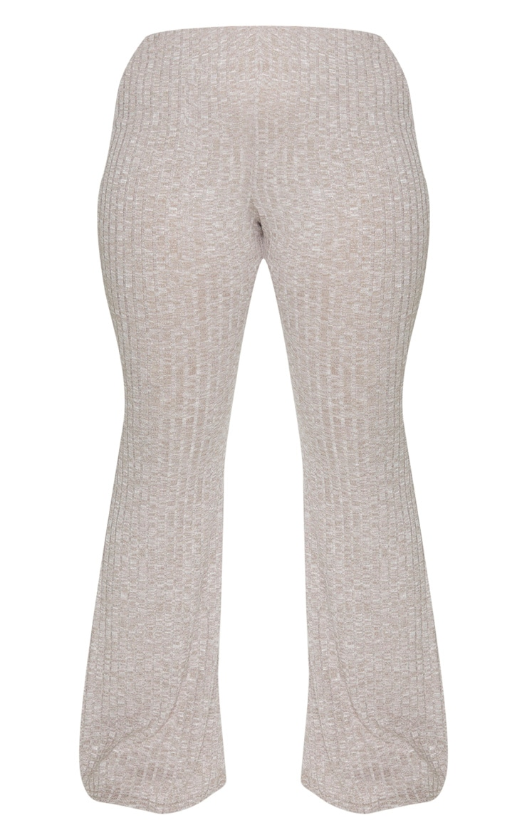Plus Sand Knitted Ribbed Wide Leg Trouser 6