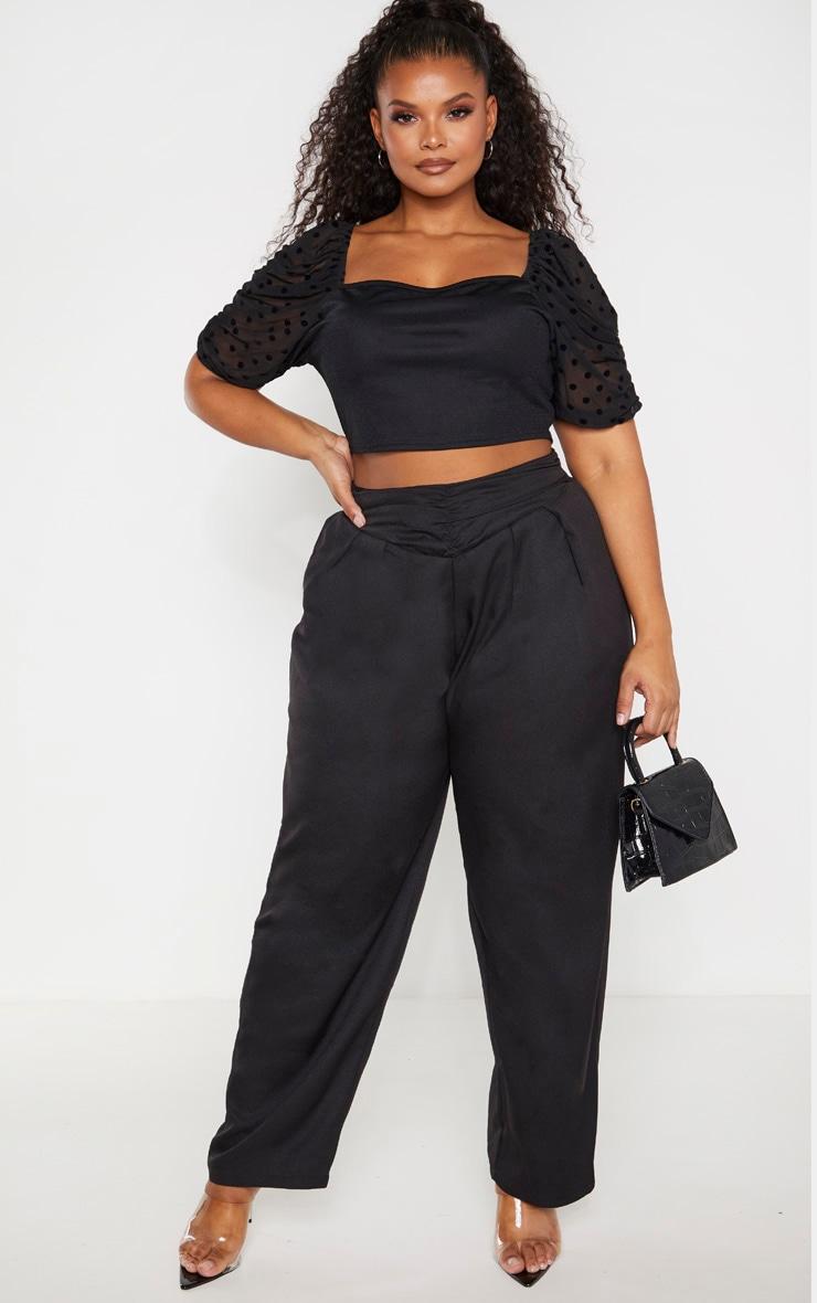 Plus Black Ruched Waist Pants 1
