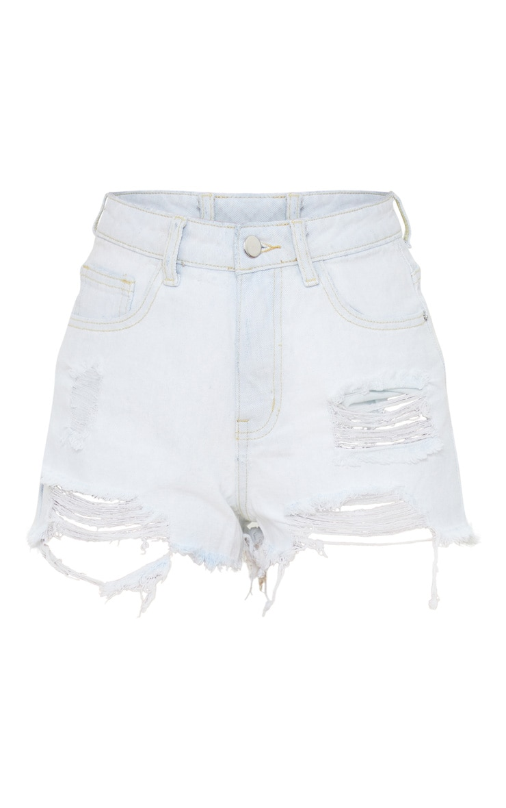Petite Bleach Wash Distressed Denim Shorts 1