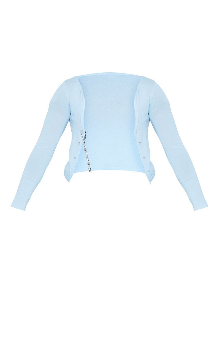 Plus Baby Blue Diamante Lace Up Knitted Top 4