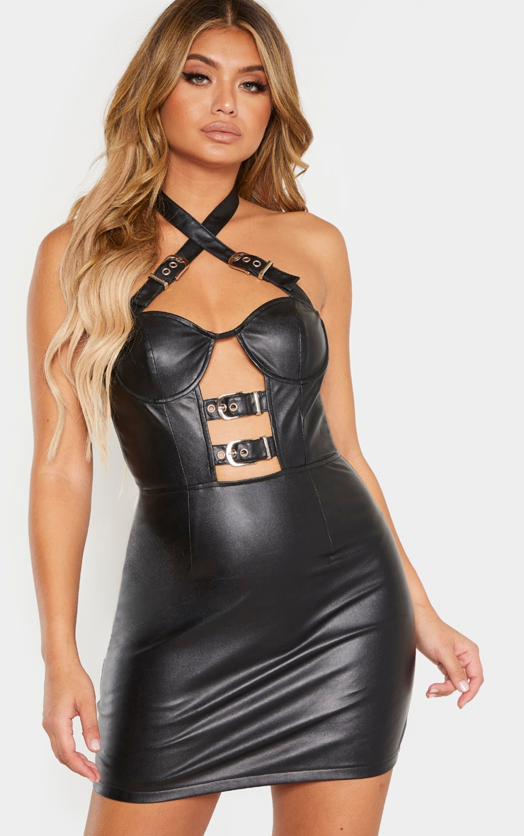 Black Faux Leather Halterneck Buckle Bodycon Dress image 1